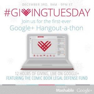 View CBLDF's #GivingTuesday Google+ Hangout with Jeff Smith and Gene Yang