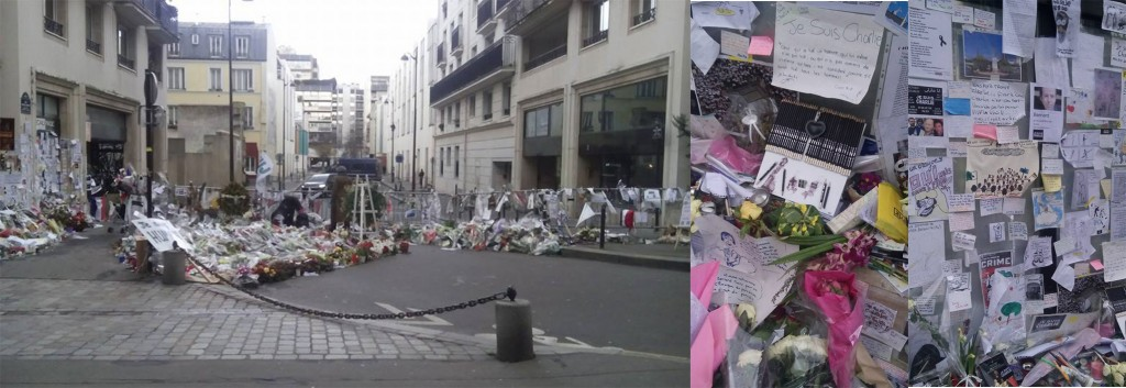 The Charlie Hebdo offices are still closed off behind police barriers. People have left flowers, messages, drawings, pencils outside.