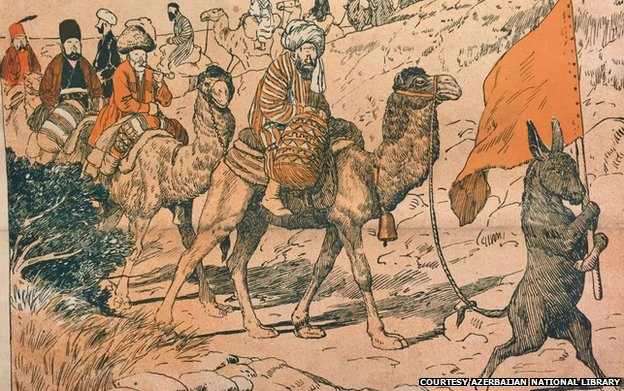This cartoon depicts the Hajj pilgrimage to skewer blind religious faith. (Source: BBC)