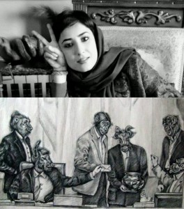 Atena Farghadani and cartoon