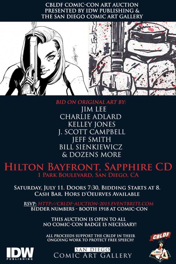 Bid For Free Speech At CBLDF's Live Art Auction, Presented By IDW Publishing and San Diego Comic Art Gallery