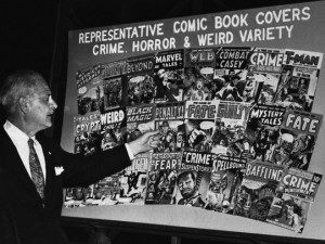 Politicians Observing and Discussing Display of Comic Books