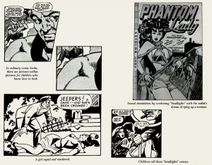 Page from Seduction of the Innocent, explaining how comics such as Baker's Phantom Lady corrupt the minds of children.
