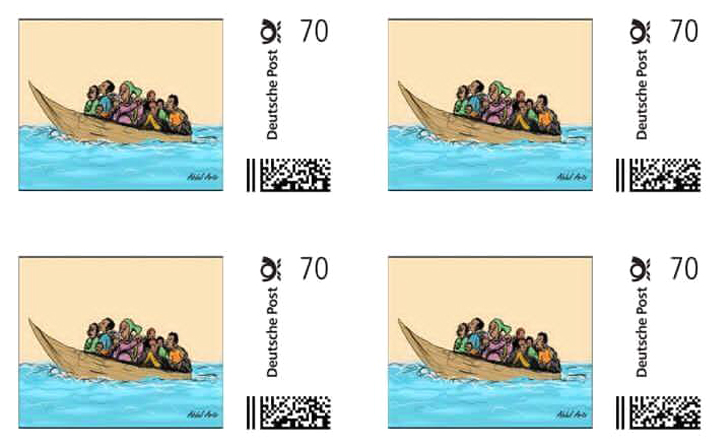 Exiled Somali Cartoonist's Design Featured on German Stamp for Refugees