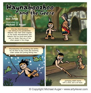 "From ""Waynaboozhoo and the Geese,"" retold by Dan Jones. Art by Michael J. Auger."