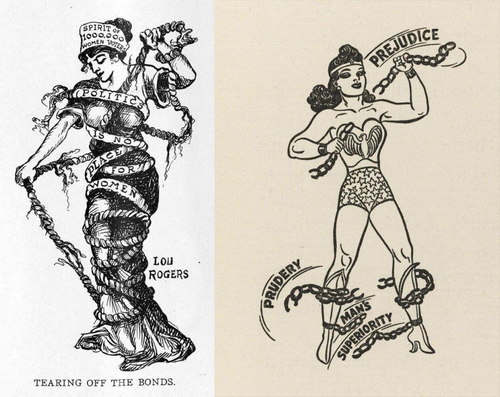 "Left: Lou Rogers' ""Tearing Off the Bonds"" from the October 19, 1912, issue of Judge. Right: An early H.G. Peters drawing of Wonder Woman."