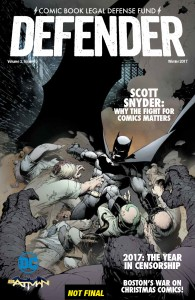 Retailers: CBLDF Defender Vol. 2 #4, Featuring SCOTT SNYDER, FOCs TODAY!