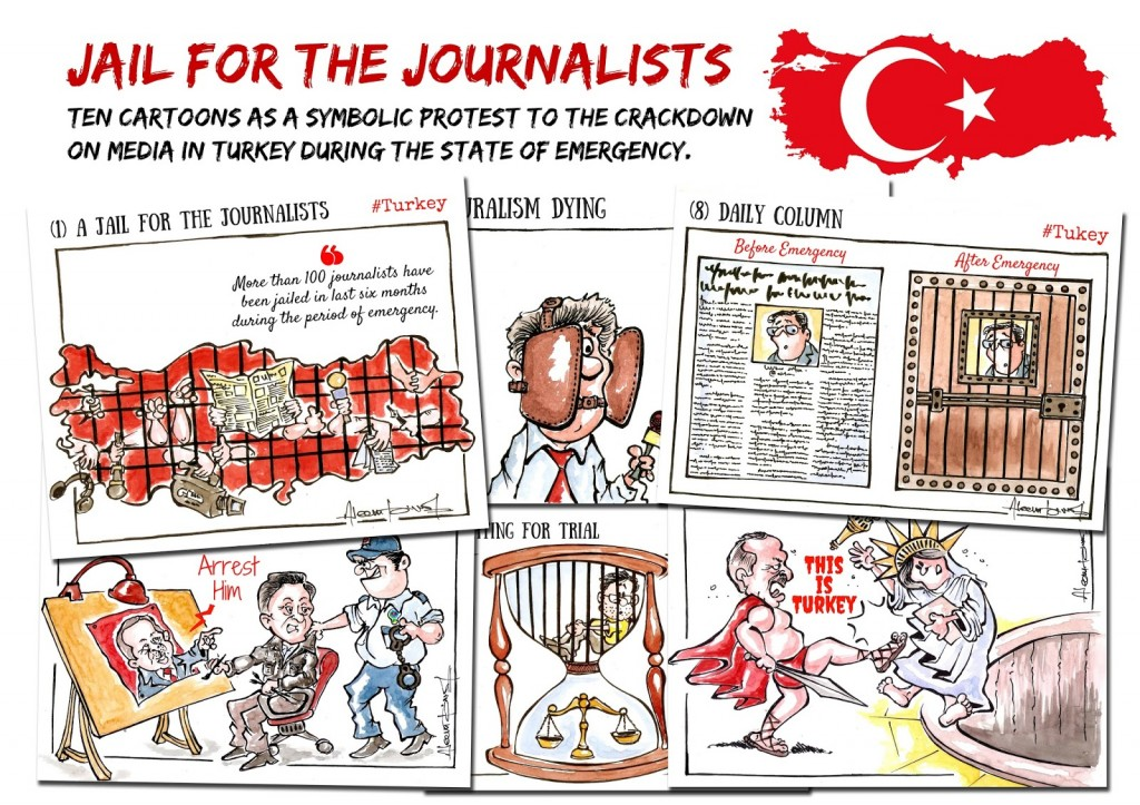 Trivedi has cartooned extensively on the mistreatment of Turkish journalists (which include cartoonist Musa Kart).  (c) Aseem Trivedi