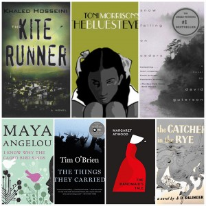 Book Covers of The Kite Runner, The Bluest Eye, Snow Falling on Ceder, I know Why the Caged Bird Sings, The Things They Carried, The handmaiden Tale, The Catcher in the Rye