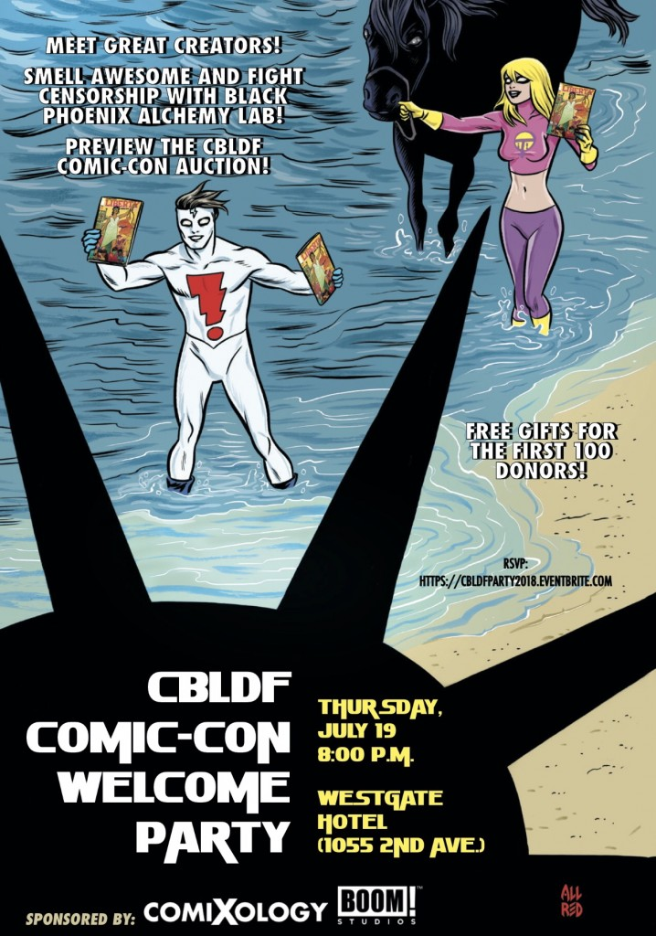CBLDF San Diego Comic-Con Welcome Party Invite featuring Mike Allred art
