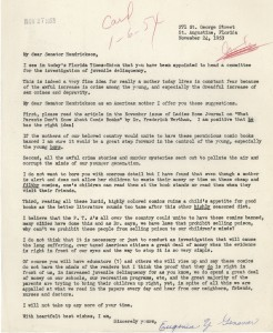 Typewritten letter from Eugenia Y Genovar to senator in favor of banning comic books