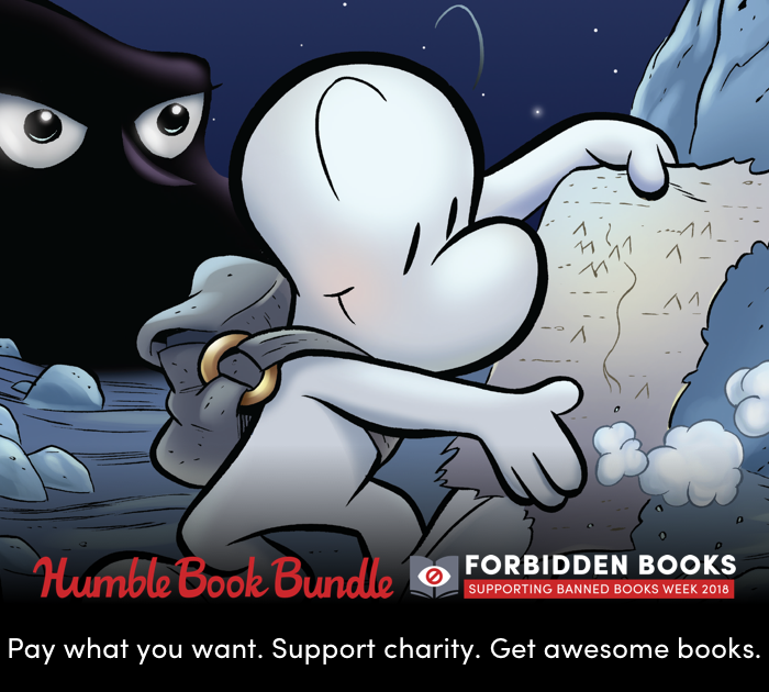 Humble Book Bundle. Pay What you Want. Support Charity. Get Awesome Books. Picture featuring Jeff Smith's Bone