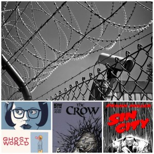 Ghost Wrold, The Crow, and Sin City covers under a picture of barbed wire with a security camera
