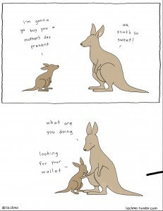 a young kangaroo and Mom kangaroo have a conversation