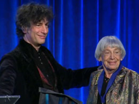 A Photo of the upcoming May Hill Arbuthnot Honor Lecture Award winner, Neil Gaiman, with a past recipient Ursula K. Le Guin.