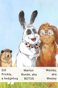 Illustrated picture showing Marlon Bundle, his fiancee Wesley and their friend Dill Prickles, a hedgehog