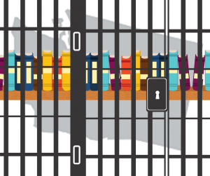 Illustrations of bookshelf behind prison bars superimposed over Washington State silhouette