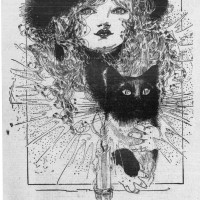 Nell Brinkley Girl with cat in newspaper