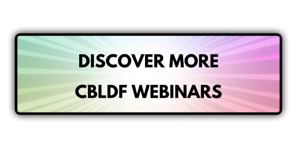 CBLDF Webinar Button Rainbow Bright