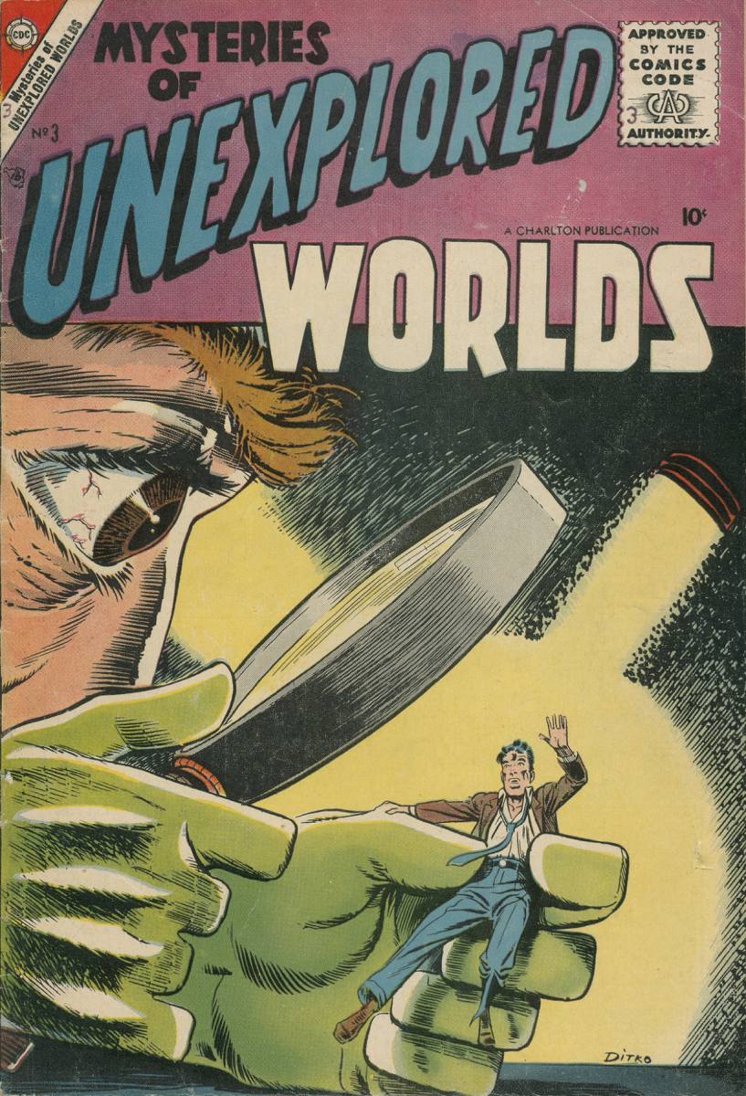 Image of giant head examining frightened person through large magnifying glass - cover of Mysteries of Unexplored Worlds #3, cover art by Steve Ditko
