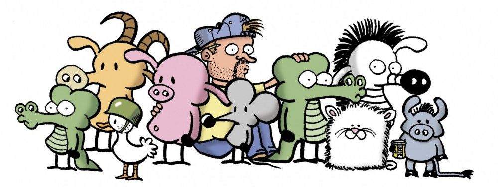 Cartoon depicting the artist with the characters of his strip Pearls Before Swine