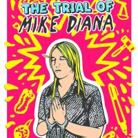 graphic of mike diana in hand cuffs holding his hands in prayer with eyes closed.