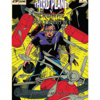 Mock Comic Book cover for court case Third Planet versus Crowne Plaza Hotel. T. J. Johnson looks on determined as cutlery and fire extiguishers hurtle down from above!