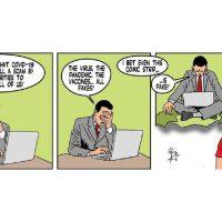 Three Panel comic strip by Gorg Mallia