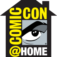 Graphic eyeball looking out of the outline of a home. Surrounded by the logo Comic-Con@Home
