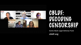 Photo of the panel featuring all five participants. CBLDF: Decoding Censorship. cbldf.org